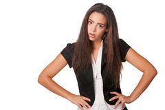 Close shot of confrontational young lady. Portrait of confrontational young woman, isolated on white Royalty Free Stock Images
