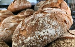 Close shot of dark german breads stock photography