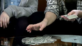 Close shot of female hands counting bank notes stock video
