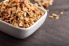 Close shot of granola. Homemade Nutty Cinnamon Granola with Honey close shot royalty free stock image