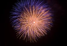 Close shot isolated fireworks. Close shot of some isolated fireworks in a typical festivity royalty free stock image