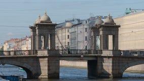 Close shot of The Lomonosov Bridge on The Fontanka River in the summer Stock Images
