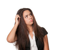 Close shot of puzzled young lady - copyspace Stock Photo