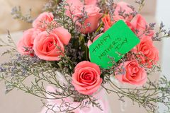 Happy Mother's Day!. Close-shot of a rose bouquet for a mother's day stock photography