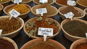 Close shot of spices in a market at the old city of jerusalem