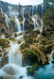 Close shot waterfall. Streams winding down, formed water as xie generally falls, the picturesque Royalty Free Stock Photography
