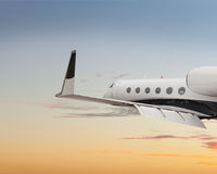 Close side view of a private jet Stock Photography