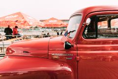 Close Side View Of Red International Harvester R-series Truck With Small Royalty Free Stock Photo