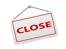 Close sign board. On a white background Stock Photos
