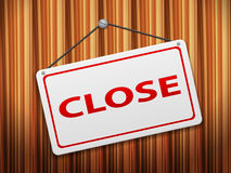 Close sign board on wood. Background Stock Photos