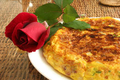 Close of spanish omelete stock image