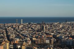 This is the spectacular view of Barcelona, Spain. In the picture it can be spotted the Sagrada Familia Sacred Family of Antoni royalty free stock photo