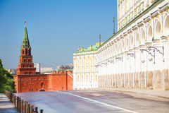 The close street view with Borovitskaya tower Stock Photography