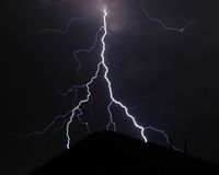 Close Strike. Lightning strike over roof top Stock Photography