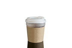 Close take-out coffee with cup holder. Isolated on black backgro Stock Photos
