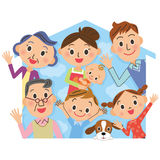 Close three-generation family and house. Close three-generation family and icon of the house vector illustration