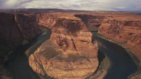 A close tilt down view of horseshoe bend at glen canyon national recreation area in page