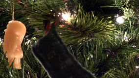 Close Tilt Up Christmas Tree Lights And Ornaments stock video footage