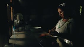 local tribal lady preparing traditional food at her rainforest home royalty free stock images