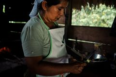 local tribal lady preparing traditional food at her rainforest home royalty free stock photography