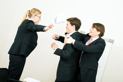 Close to a box fight. Business discussion coming close to a physical fight royalty free stock photo