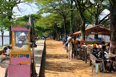 Close to bridge on Wouri, Douala, Cameroun. People enjoying a sunday afternoon close to bridge on Wouri, Douala, Camerounnyoung people having rest and having a Royalty Free Stock Photos