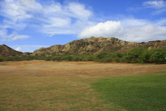 Close to Diamond Head Crater. Landscape with dried grass and trees and hills in background Stock Image
