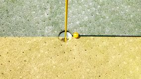 That Close To A Hole In One Golf Shot, Southern California. Just that close to being a hole in one golf shot in Southern California. Who aerated the green? Stock Photo