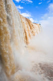Close to Iguazu waterfalls. Iguazu waterfalls on Brazil side, close view with froth falling down water stock photos
