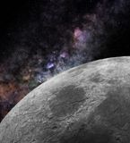 Close to the Moon. Close-up image of the Moon surface with Milky Way galaxy on background Stock Photography