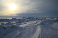 Close to the North Pole. Winter evening on the frozen sea Stock Images
