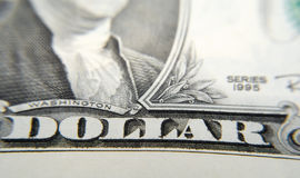 Close to One Dollar. Close-Up shot of a dollar bill, focus on the text Dollar Royalty Free Stock Images