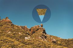 Geometric Abstract Art In A Mountain. Close to the volcano in Tenerife, I thought I saw this geometry. Playing with the nature and with harmless imagination stock images
