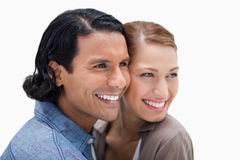 Close together standing couple looking to the right Stock Images