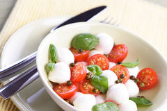 Close of tomato and mozarella in dish Stock Photo