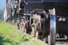 Close on Train Rail Wheels Royalty Free Stock Photography