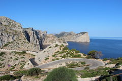 Close turn next to Cap Formentor light house Stock Image