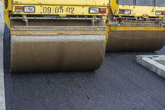Close of two road roller compacting asphalt Stock Photo