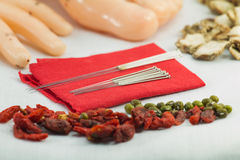 close uo Chinese acupuncture needles on red cloth with meridian Stock Photography