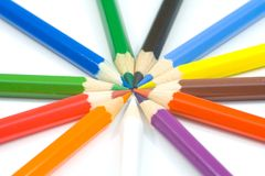 Close-uo of colored pencil. On white background stock images