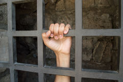 Close uo of hand of a prisoner Royalty Free Stock Images
