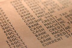 Close-up банковской записи Стоковые Изображения RF