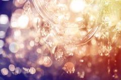 Close-up канделябра Chrystal Предпосылка очарования с космосом экземпляра Стоковая Фотография RF