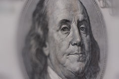 Close-up of a $100 banknote. Benjamin Franklin Royalty Free Stock Photos