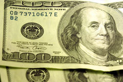 Close-up of $100 Bills stock images