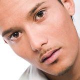 Close up. Male model posing in a photo studio with a white background stock photo