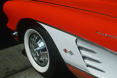 Close Up of 1957 Red Corvette Stock Photo
