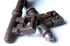 Close Up Of 2 Antique Keys. Macro shot of 2 antique Victorian mortice keys Stock Photos