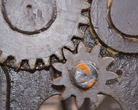 Close up of 2 greased gears Stock Photos