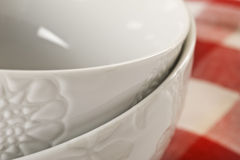 Close up of 2 white bowls Royalty Free Stock Photo
